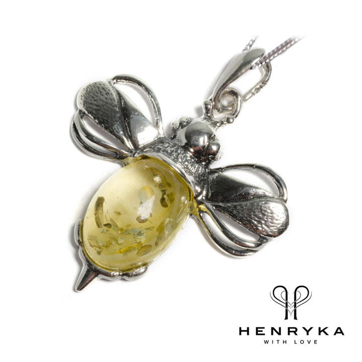 Large Bumble Bee Necklace in Silver and Yellow Amber