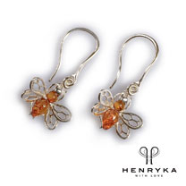 Image of Tiny Honey Bee Drop Earrings in Silver and Cognac Amber