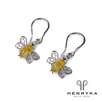 Image of Tiny Honey Bee Drop Earrings in Silver and Yellow Amber