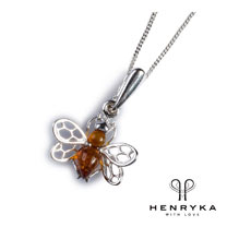 Image of Tiny Honey Bee Necklace in Silver and Cognac Amber
