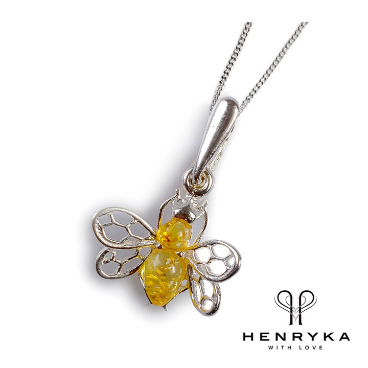 Tiny Honey Bee Necklace in Silver and Yellow Amber
