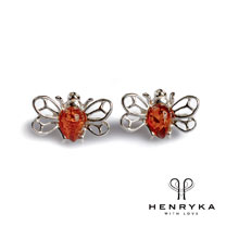 Image of Tiny Honey Bee Stud Earrings in Silver and Cognac Amber