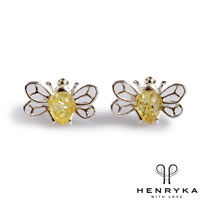 Image of Tiny Honey Bee Stud Earrings in Silver and Yellow Amber