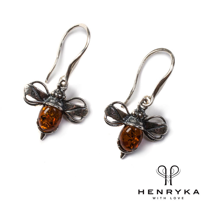 Bumble Bee Drop Earrings in Silver and Cognac Amber