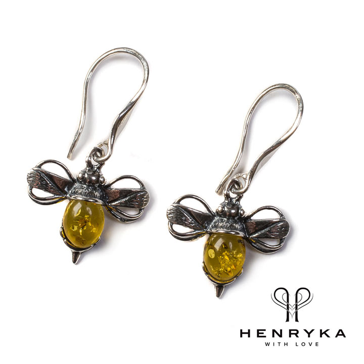 Bumble Bee Drop Earrings in Silver and Yellow Amber