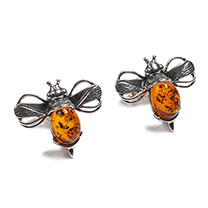 Image of Bumble Bee Stud Earrings in Silver and Cognac Amber