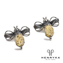Bumble Bee Stud Earrings in Silver and Yellow Amber