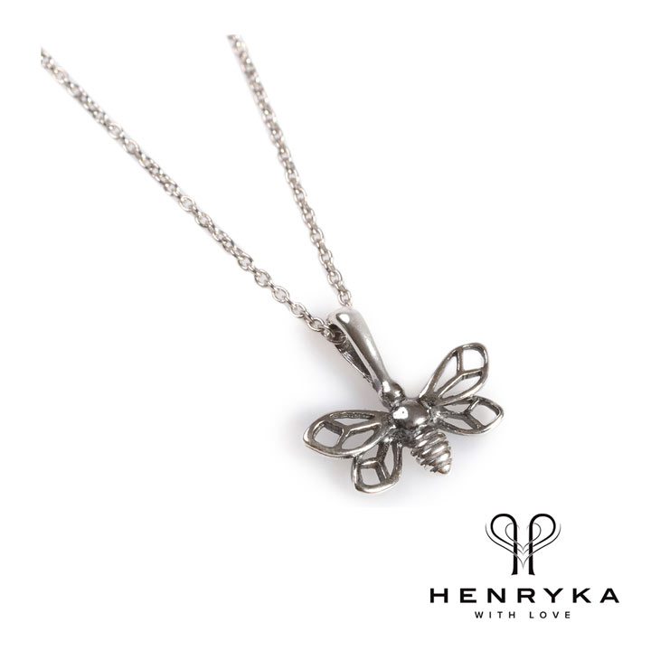 Miniature Bumble Bee Necklace in Silver