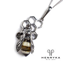 Hornet on Honeycomb Necklace in Silver and Amber