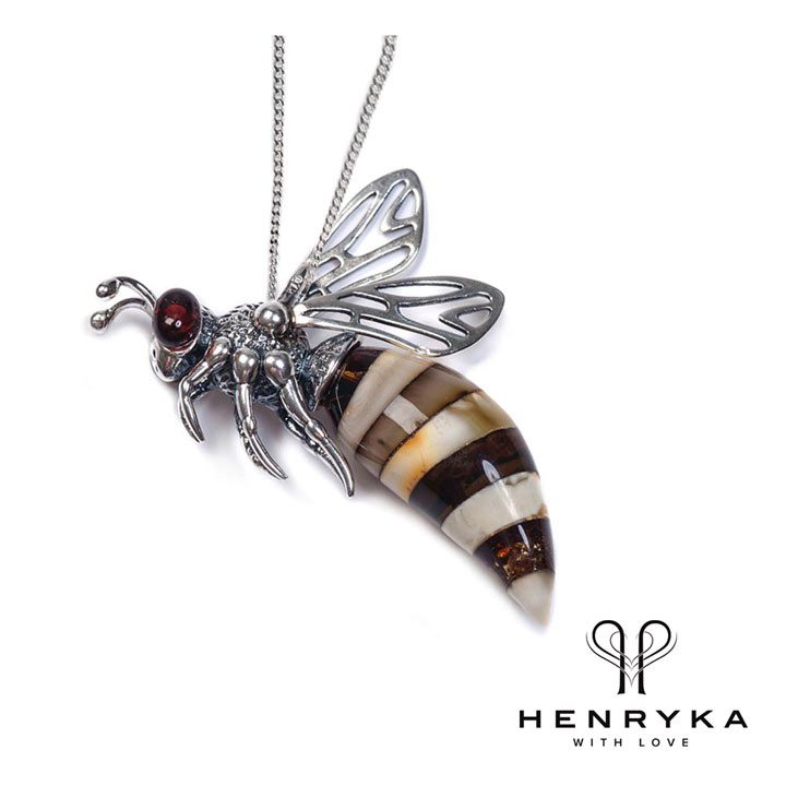 Small Hornet Necklace in Silver and Amber