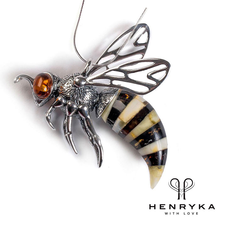 Large Hornet Necklace in Silver and Amber