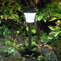 Solar Pathway Light with Motion Sensor - Brushed Nickel