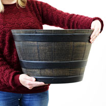 Medium Wooden Barrel Effect Plastic Planter - 10