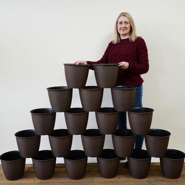 Small Rattan Effect Plant Pot - 20