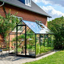 Greenhouse Qube 610 Black Frame, Toughened Glass with Base
