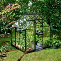 Greenhouse Qube 66 Black Frame, Toughened Glass with Base