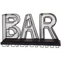 Metal Bar Sign Wine Glass Holder / Wine Bar with Foldable Shelf