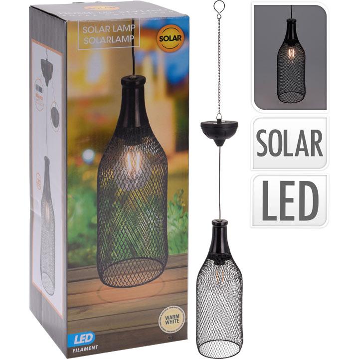 Wine Bottle Solar Metal Hanging Light