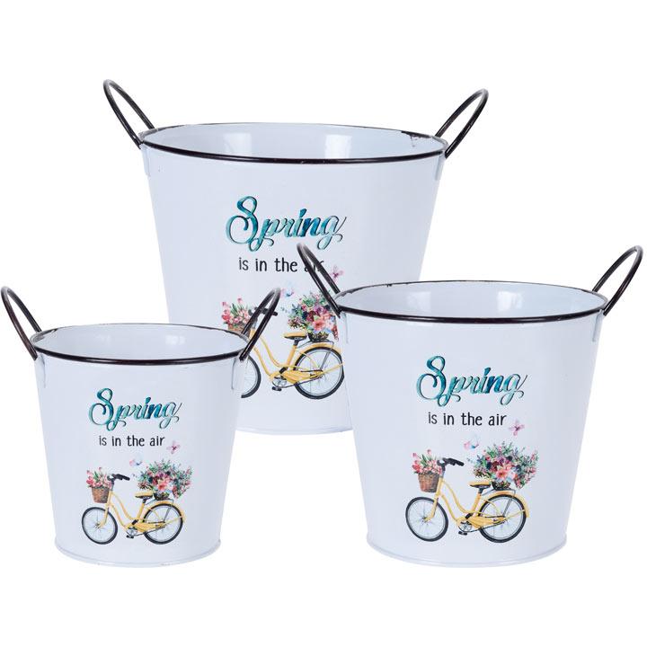 Set of Three Spring Planters - Bike Design