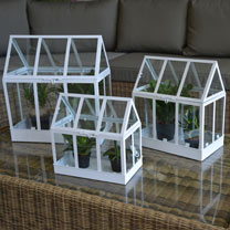 Set of 3 Glass House Terrarium - White
