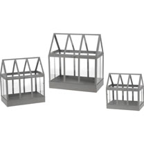 Set of 3 Glass House Terrarium - Grey