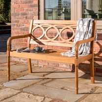 Image of Oval Slatted Back 2 Seat Bench