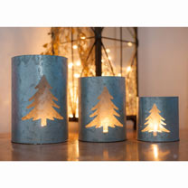 Tea Light Holders - Fir Tree & Noel