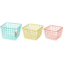 Set of three wire storage baskets in pretty pastel shades.