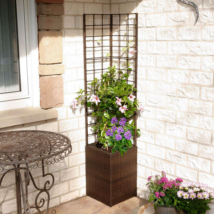Rattan Square Planter With Trellis And Irrigation System