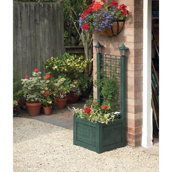 Trellis Planter with Solar Lanterns - Verdigris