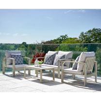 Hardwood Sofa Set - Light Grey