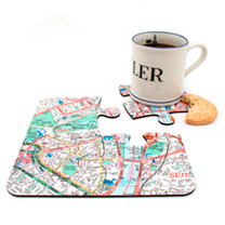 Personalised Map Jigsaw Coasters - London