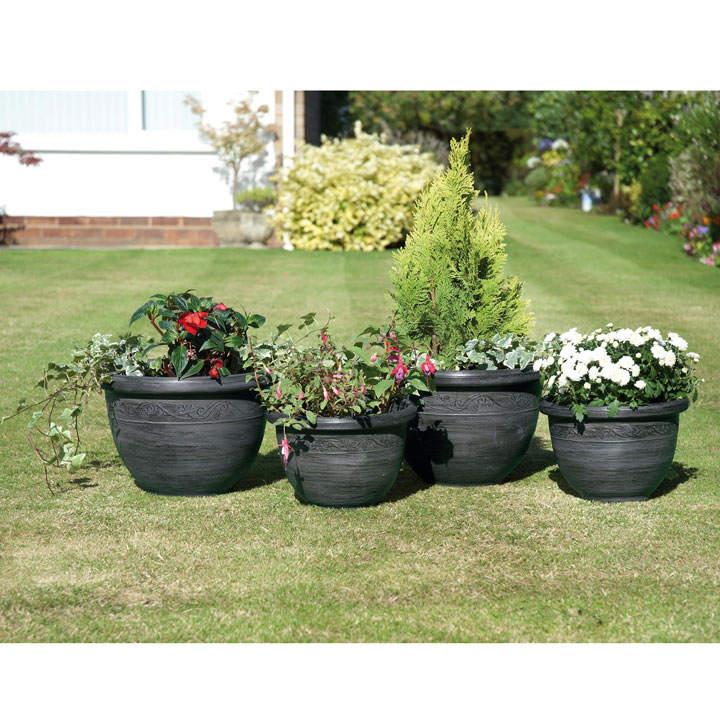 Gunmetal Grey Antique Style Planters