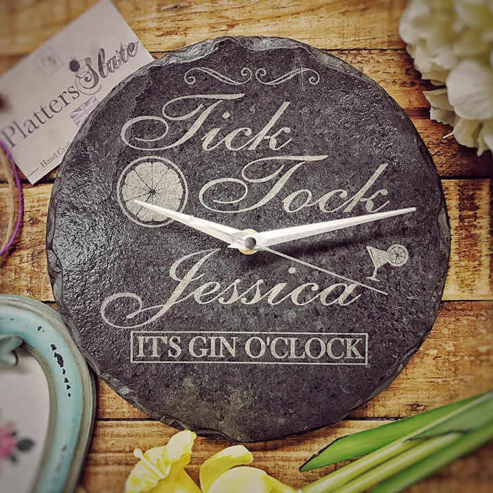 Personalised Slate Gin Clock