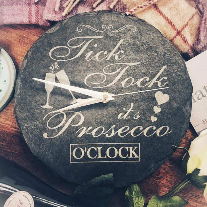 Slate Prosecco Clock
