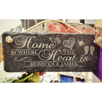 Image of Personalised Slate Home Heart Sign
