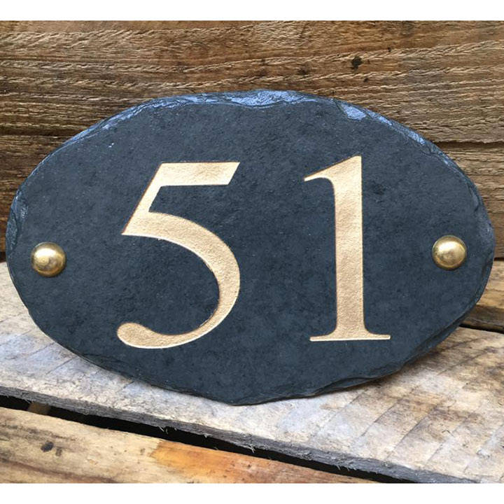 Personalised Oval House Number Sign - Gold