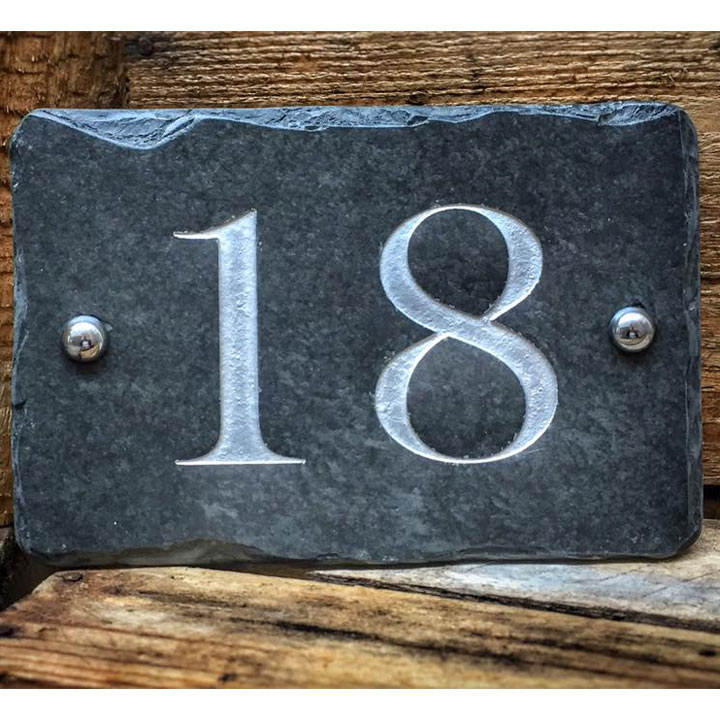 Personalised Rectangular House Number Sign - White
