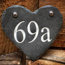 Personalised Heart Slate Number Sign - Gold