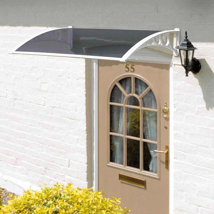 Door Canopy White Grey Cover - 1m