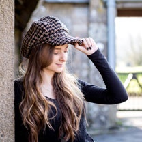 The Tatton Giant Black Houndstooth  Hat - Large