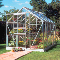 Aluminium Popular 6' x 8' Greenhouse with Hort. Glass + Greenhouse Base + 2 Tier Staging with top extension staging + Auto Vent