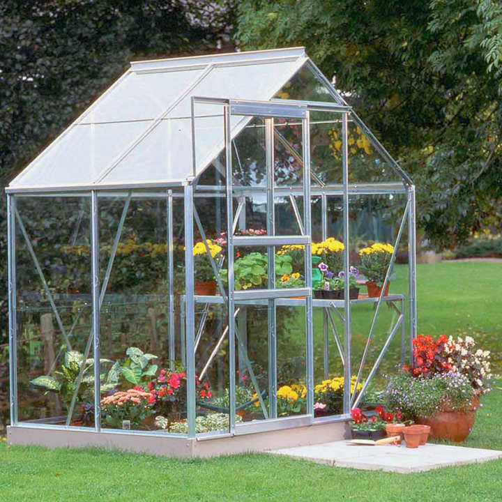 Halls Aluminium Popular Greenhouse with Horti Glass + Base - 6' x 4' & Accessories