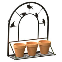 'Perching Bird' - Wall Trellis with Folding Shelf