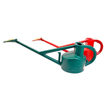Image of Haws Long Reach Watering Can - Green & Red